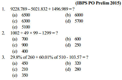 Approximation Questions for IBPS PO 4