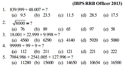 Approximation Questions for IBPS RRB 8