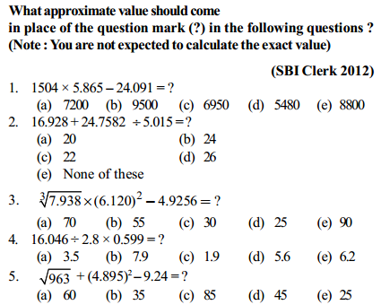 Approximation Questions for SBI Clerk 10