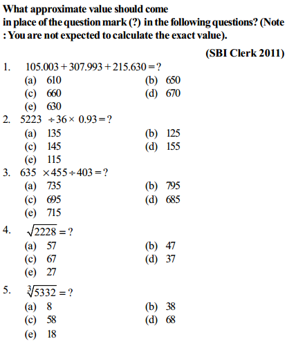 Approximation Questions for SBI Clerk 13