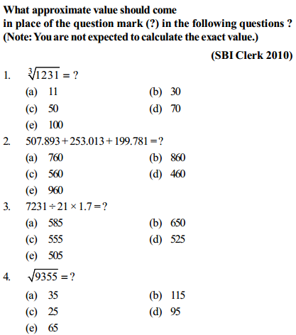 Approximation Questions for SBI Clerk 15
