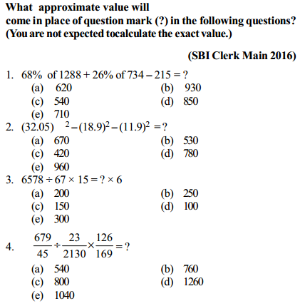 Approximation Questions for SBI Clerk 3