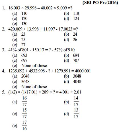 Approximation Questions for SBI PO 1