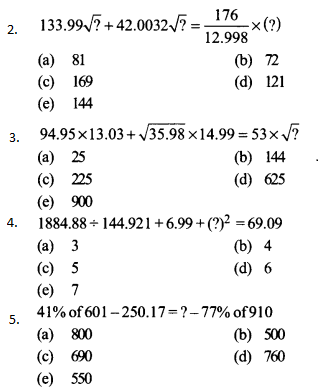 Approximation Questions for SBI PO 11