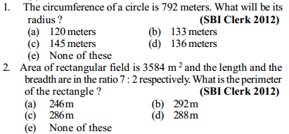 Area and Perimeter Questions for SBI Clerk 16
