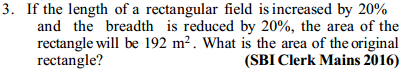 Area and Perimeter Questions for SBI Clerk 5