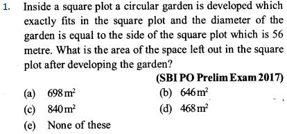 Area and Perimeter Questions for SBI PO 1