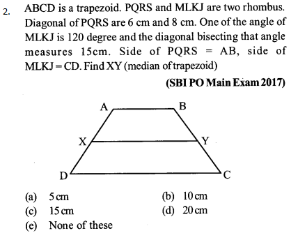 Area and Perimeter Questions for SBI PO 2