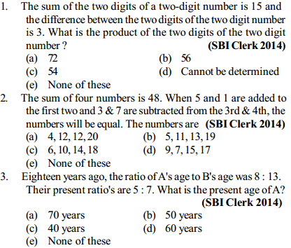 Equations and Inequations Questions for SBI Clerk 1