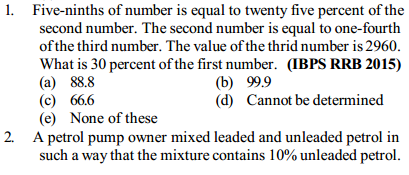 Percentage Questions for IBPS RRB 28