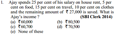 Percentage Questions for SBI Clerk 8