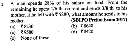 Percentage Questions for SBI PO 17