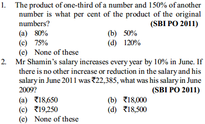 Percentage Questions for SBI PO 22