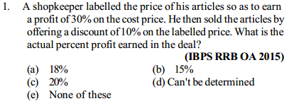 Profit and Loss Questions for IBPS RRB 10