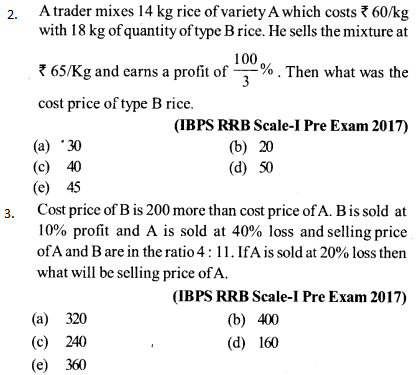 Profit and Loss Questions for IBPS RRB 3