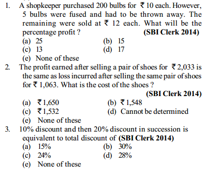 Profit and Loss Questions for SBI Clerks 3