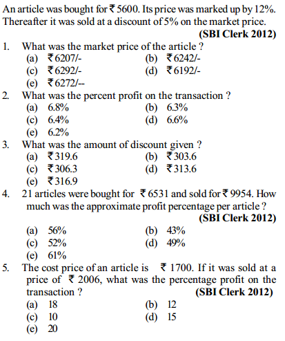 Profit and Loss Questions for SBI Clerks 8