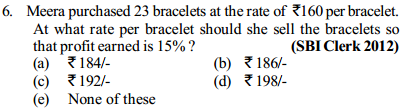 Profit and Loss Questions for SBI Clerks 9