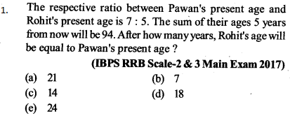 Ratio and Proportion Questions for IBPS RRB 1