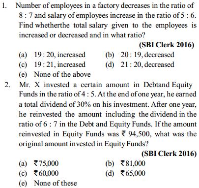 Ratio and Proportion Questions for SBI Clerk 2