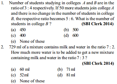 Ratio and Proportion Questions for SBI Clerk 7