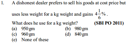 Ratio and Proportion Questions for SBI PO 5