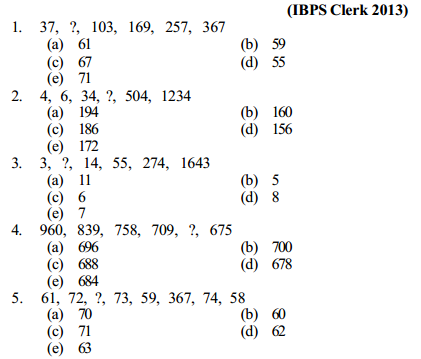 Series Questions for IBPS Clerk 15