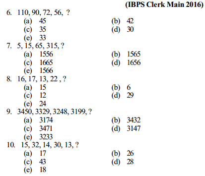 Series Questions for IBPS Clerk 3