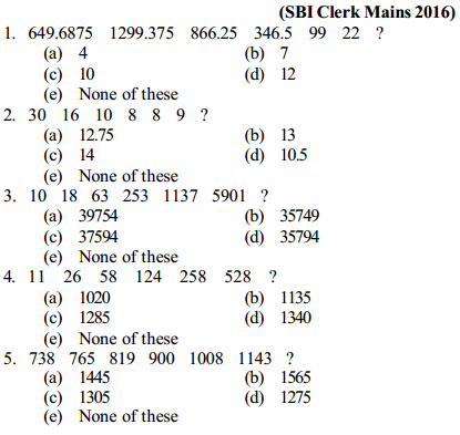 Series Questions for SBI Clerk 2