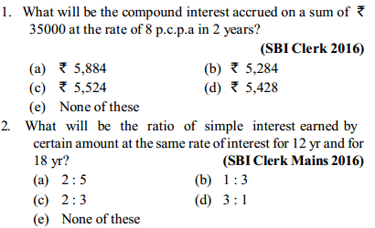 Simple Interest and Compound interest Questions for SBI Clerk 1