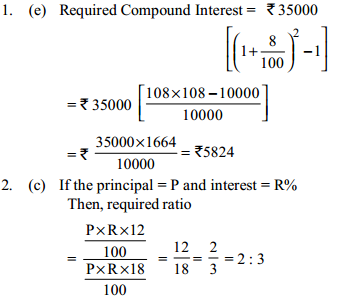 Simple Interest and Compound interest Questions for SBI Clerk 2