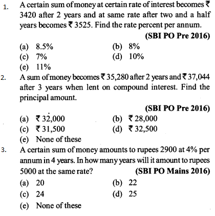 Simple Interest and Compound interest Questions for SBI PO 5