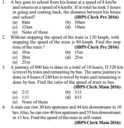 Time, Speed and Distance Questions for IBPS Clerk 1