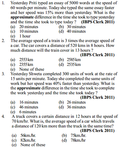 Time, Speed and Distance Questions for IBPS Clerk 12