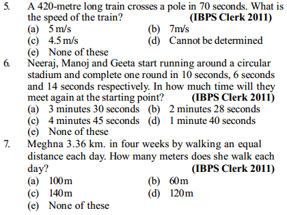 Time, Speed and Distance Questions for IBPS Clerk 13