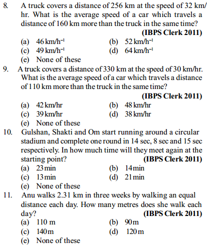 Time, Speed and Distance Questions for IBPS Clerk 14