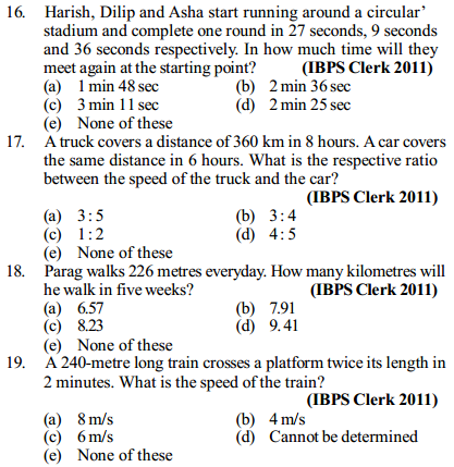 Time, Speed and Distance Questions for IBPS Clerk 16
