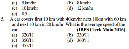 Time, Speed and Distance Questions for IBPS Clerk 2