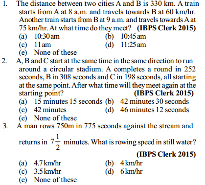 Time, Speed and Distance Questions for IBPS Clerk 4