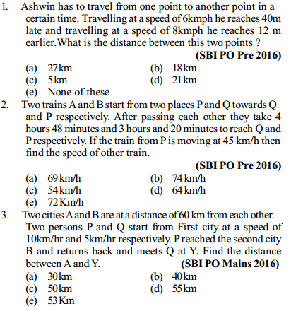 Time, Speed and Distance Questions for SBI PO 1