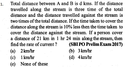 Time, Speed and Distance Questions for SBI PO 3