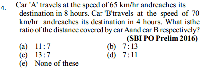 Time, Speed and Distance Questions for SBI PO 9