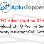 EPFO Admit Card for SSA